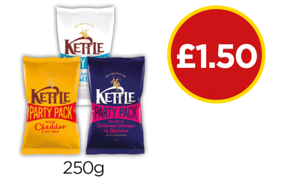 Kettle Chips Lightly Salted, Sea Salt & Balsamic Vinegar, Mature Cheddar & Red Onion - Now £1.50 at Budgens