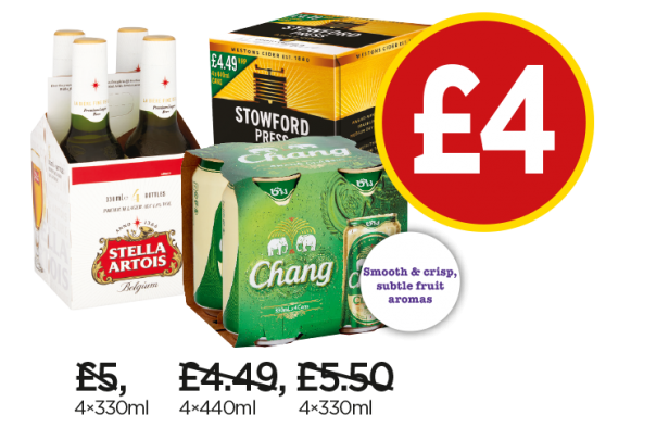 Stella Artois, Stowford, Chang Beer - Now £4 at Budgens