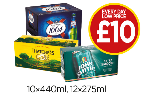 Thatchers Gold, John Smiths Extra Smooth, Kronenbourg 1664 - Every Day Low Price of £10 at Budgens