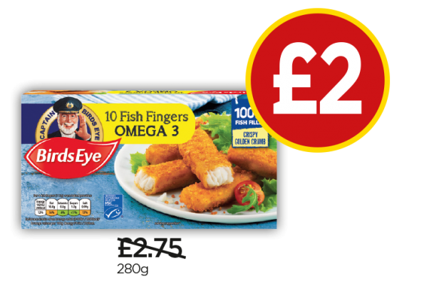 Birds Eye 10 Omega 3 Fish Fingers - Was £2.75, Now £2 at Budgens