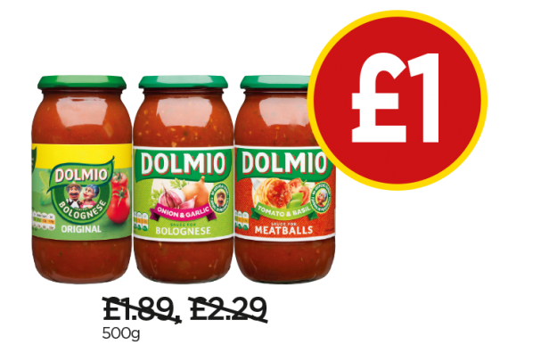 Dolmio Original Bolognese Sauce, Bolognese Extra Onion & Garlic Sauce, Meatballs Tomato & Basil Sauce - Now £1 at Budgens