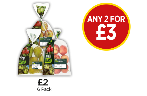 Farm Fresh Royal Gala Apples, Conference Pears, Cox Apple Bag - Any 2 for £3 at Budgens
