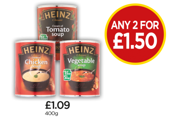 Heinz Cream Of Chicken Soup, Cream Of Tomato Soup, Classic Vegetable Soup - Any 2 for £1.50 at Budgens