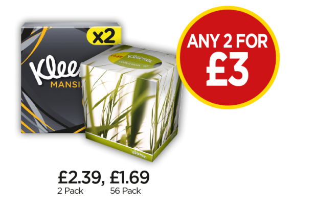 Kleenex Mansize Tissues, Collection - Any 2 for £3 at Budgens