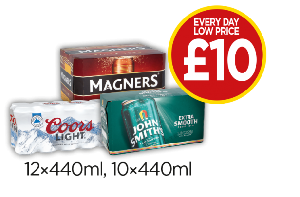 Magners Cans, Coors Light, John Smiths Extra Smooth - Every Day Low Price - £10 at Budgens