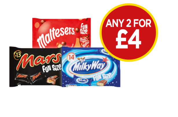 Malteaser Funsize, Mars Funsize, Milkyway Funsize - Any 2 for £4 at Budgens