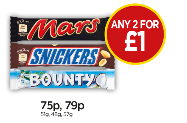 Mars, Snickers, Bounty Milk - Any 2 for £1 at Budgens