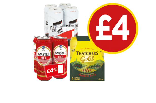 Amstel Bier, Carling, Thatchers Gold - Now £4 at Budgens