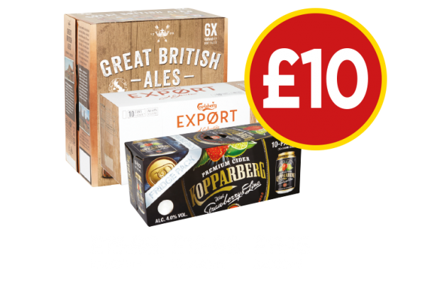 Kopparberg Strawberry & Lime, Great British Ale, Carlsberg Export - Now £10 at Budgens