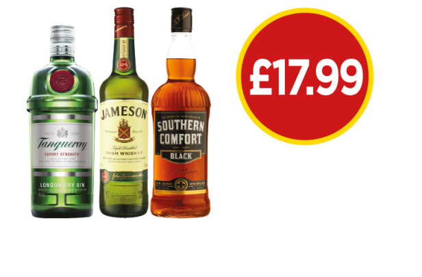 Tanqueray Gin, Jamesons Irish Whiskey, Southern Comfort Black - Now £17.99 at Budgens