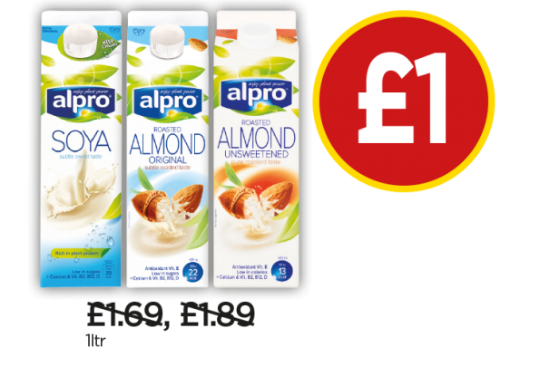 Alpro Soya, Roasted Almond Milk, Roasted Almond Milk Unsweetened - £1 at Budgens