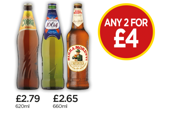 Birra Moretti, Kronenbourg 1664, Cobra - Any 2 For £4 at Budgens