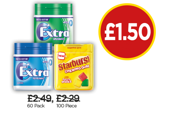 Wrigley's Extra Peppermint Gum, Extra Spearmint Gum, Starburst Fruity Mix Gum - Was £2.49, £2.29, Now £1.50 at Budgens