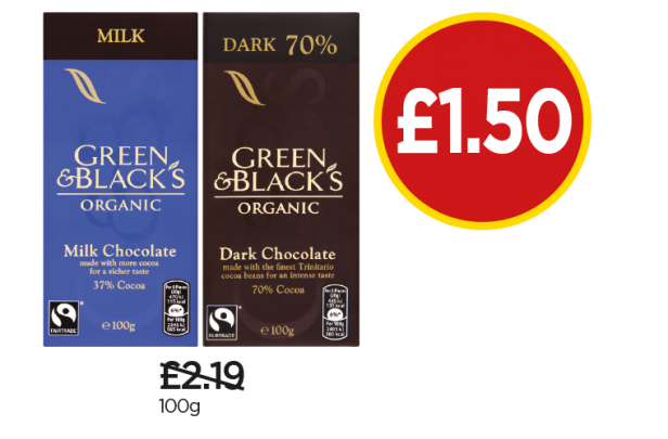 Green & Black's Organic Milk Chocolate, Dark Chocolate - Was £2.19, Now £1.50 at Budgens