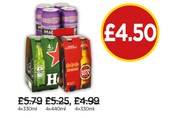 Heineken, Magners Dark Fruit, Superbock - Now £4.50 at Budgens