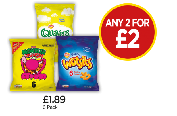 Monster Munch Roast Beef, Quavers Cheese, Wotsits - Any 2 For £2 at Budgens