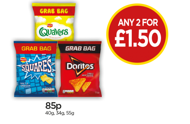 Walkers Salt & Vinegar Squares Grab Bag, Quavers Cheese, Doritos Chilli Heatwave - Any 2 For £1.50 at Budgens