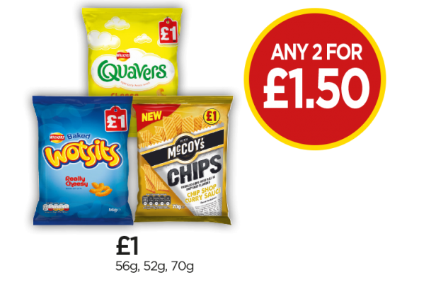 Wotsits Cheese, Quavers Cheese, McCoy's Chip Shop Curry Sauce - Any 2 For £1.50 at Budgens