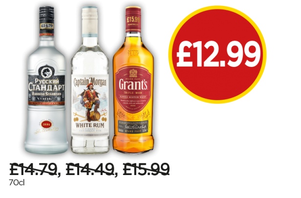 Russian Standard Vodka, Captain Morgan Spiced Rum, Grants Blended Scotch Whisky - Now £12.99 at Budgens