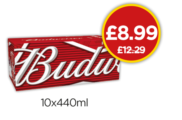 Budweiser - Was £12.29, Now £8.99 at Budgens