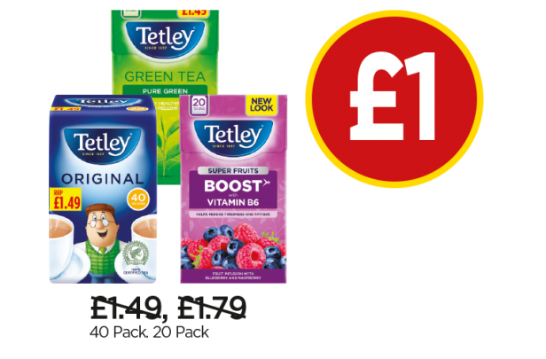 Tetley Tea Bags Original, Green Tea Pure Green, Super Green Blueberry & Raspberry - Was £1.49, £1.79, Now £1 at Budgens