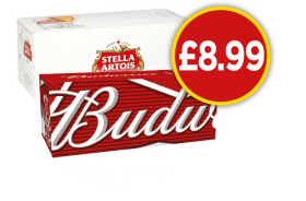 Budweiser, Stella Artois - Now £8.99 at Budgens