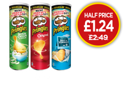 Pringles Original, Sour Cream & Onion, Salt & Vinegar - Half Price - Was £2.49, Now £1.24 at Budgens