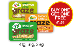 Graze Veggie Protein Power, Punchy Protein Power, Smoky Barbecue Crunch - Buy One Get One Free - £1.49 at Budgens