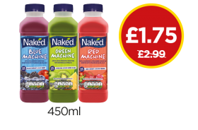Naked Blue Machine, Green Machine, Red Machine Drink - Was £2.99, Now £1.75 at Budgens