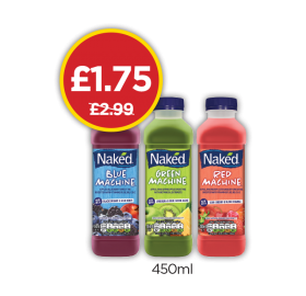 Naked Blue Machine, Green Machine, Red Machine - Was £2.99, Now £1.75 at Budgens