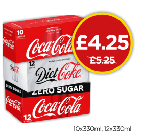 Coca Cola Multipack, Diet Coke Multipack, Coke Zero Multipack Was £5.25, Now £4.25 at Budgens