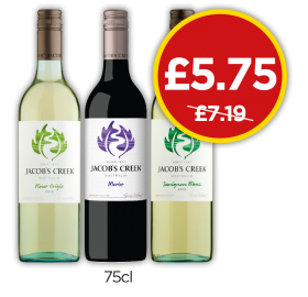 Jacobs Creek Sauvignon Blanc, Merlot, Pinot Grigio - Was £7.19, Now £5.75 at Budgens