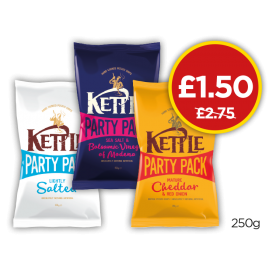 Kettle Chips Lightly Salted Crisps, Salt & Balsamic Vinegar, Mature Cheddar & Onion - Was £2.75, Now £1.50 at Budgens