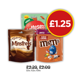 Galaxy Minstrels Pouch, Maltersers Mint Buttons Pouch, M&M Crunchy Caramel Pouch - Was £2.29, £2.09, Now £1.25 at Budgens