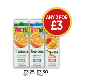 Tropicana Original Orange, Smooth Orange, Orange & Mango Juice - Any 2 for £3 at Budgens