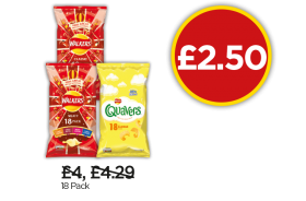Walkers Meaty, Variety, Quavers - Now £2.50 at Budgens