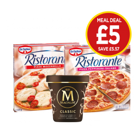 Dr Oetker Ristorante Mozzarella Pizza, Dr Oetker Ristorante Pepperoni-Salame Pizza , Magnum Classic Ice Cream Tub - £5 at Budgens