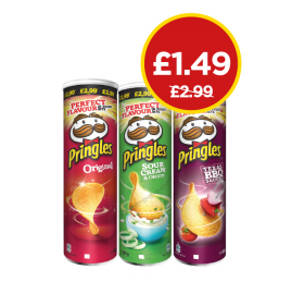 Pringles Original, Sour Cream & Onion, Texas BBQ - Was £2.99, Now £1.49 at Budgens