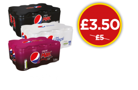 Pepsi Multipacks - Max, Diet, Max Cherry - Was £5, Now £3.50 at Budgens