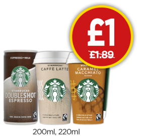 Starbucks Doubleshot Espresso, Caffe Latte, Caramel Macchiato - Was £1.89, Now £1 at Budgens