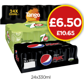 Pepsi Max, 7UP Free, Tango Orange - Was £10.65, Now £6.50 at Budgens