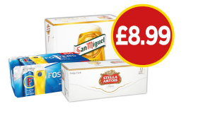 Stella Artois, Fosters, San Miguel - Now £8.99 at Budgens