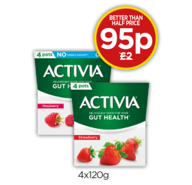 Activia Strawberry Yogurt, Raspberry 0% Fat Free Yogurt - Better Than Half Price - Now 95p at Budgens