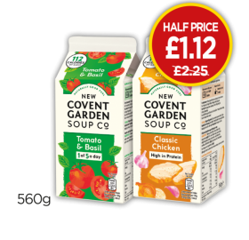 New Covent Garden Chicken Soup, Tomato & Basil Soup - Half Price - Now £1.12 at Budgens