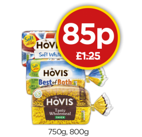 Hovis Soft White Medium, Best Of Both Thick, Wholemeal Thick - Was £1.25, Now 85p at Budgens