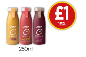 Innocent Magnificent Mango Smoothie, Seriously Strawberry, Pomegranate Magic - Was £2, Now £1 at Budgens