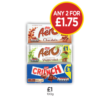 Aero Milk Block, Aero Peppermint Block, Crunch Block - Any 2 for £1.75 at Budgens