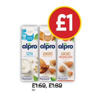 Alpro Soya Original, Almond Milk, Almond Milk Unsweetened - Was£1.69, £1.89, Now £1 at Budgens