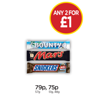 Bounty Milk, Mars, Snickers - Any 2 for £1 at Budgens