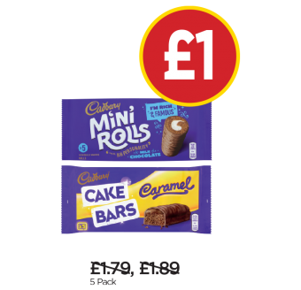 Cadbury Mini Roll Chocolate, Caramel Cake Bars - Was £1.79, £1.89, Now £1 at Budgens